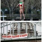 فیلم و عکسهایی از یک زن عضو «فمن»که برای اعتراض به حضور حسن روحانی در پاریس، خود را با طناب از پلی آویزان کرد