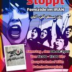 ۸ آگوست، آکسیون دوم زنان مستقل شهر کلن :  در اعتراض به زن کشی(Femizide) در ایران